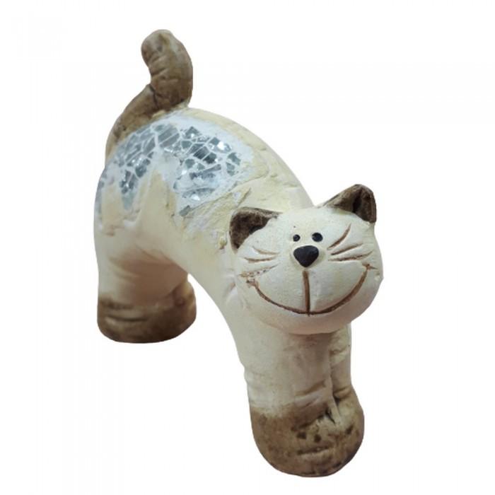 Dekoracyjna figurka kota na prezent / figurka kot z kawałkami szkła