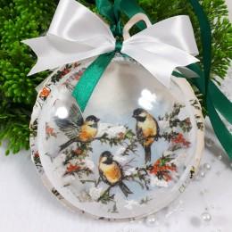 Świąteczna bombka decoupage z ptaszkami 3D / bombka na prezent