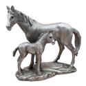 Srebrna figurka koni / figurka koń ze źrebakiem / figurka konia