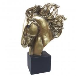 Figurka koń złoty / figurka głowa konia na postumencie h 33cm
