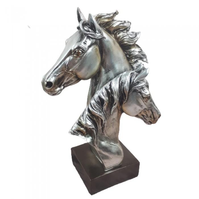 Figurka koń srebrny / figurka głowy konia na postumencie h 28cm