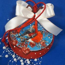 Świąteczna bombka decoupage ze sklejki deseczki motyw PTASZKI GILE