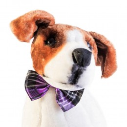 Mucha muszka dla psa kota fioletowa w kratę