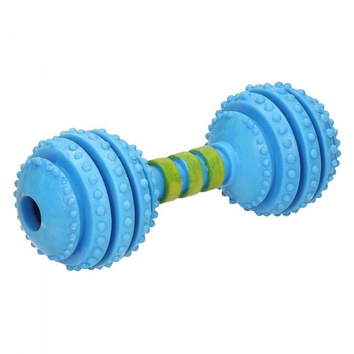 Zabawki dla psa | Niebieski gumowy hantel z dzwonkiem