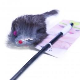 Wędka dla kota z futrzaną myszką