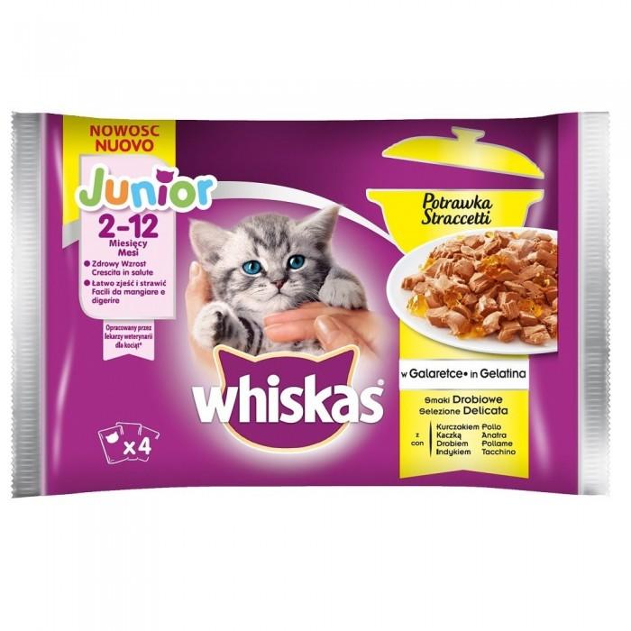 Whiskas JUNIOR potrawka w galaretce smaki drobiowe 4x85g