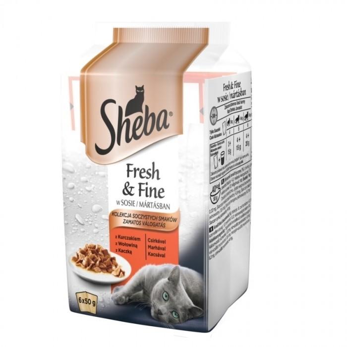 Sheba Fresh & Fine 6-pak saszetek w sosie kurczak, wołowina, kaczka 6x50g