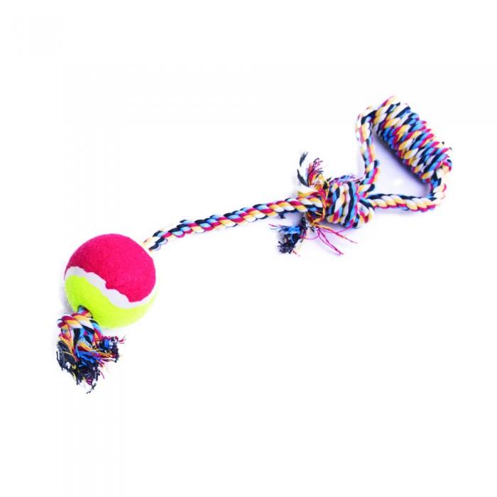 Piłka tenisowa dla psa na sznurku z uchwytem