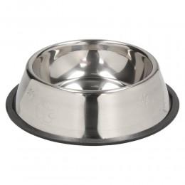 Średnia miska metalowa dla psa na gumie ANTYPOŚLIZGOWEJ 450 ml