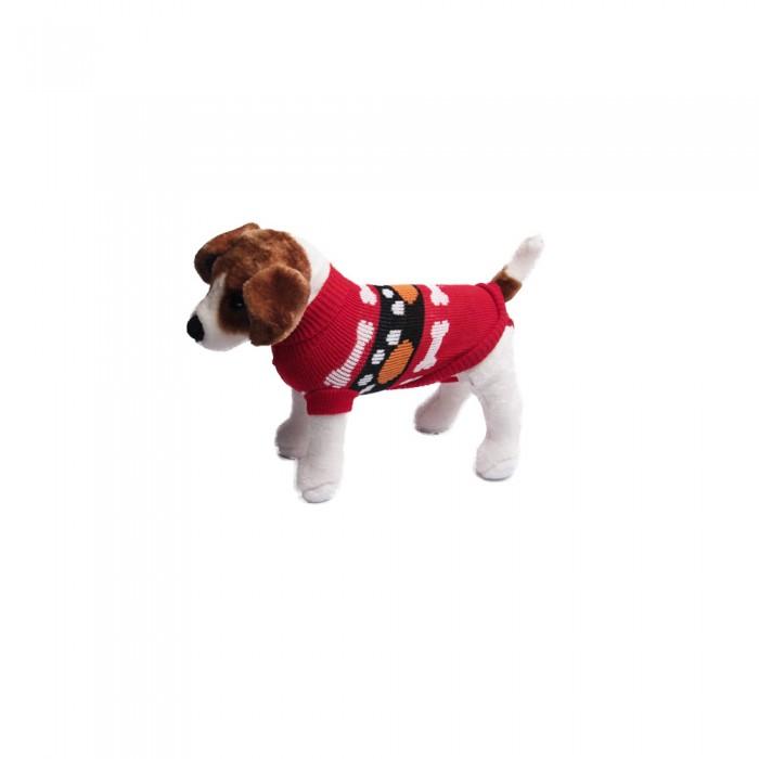 Ciepły sweterek ubranko dla psa lub kota CZERWONY W KOSTECZKI