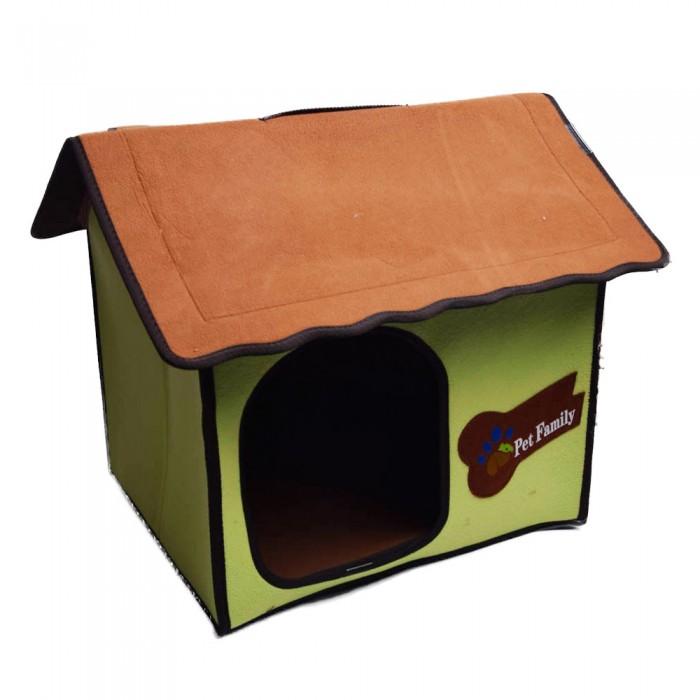 Zielony domek budka buda legowisko z filcu dla  małego psa kota