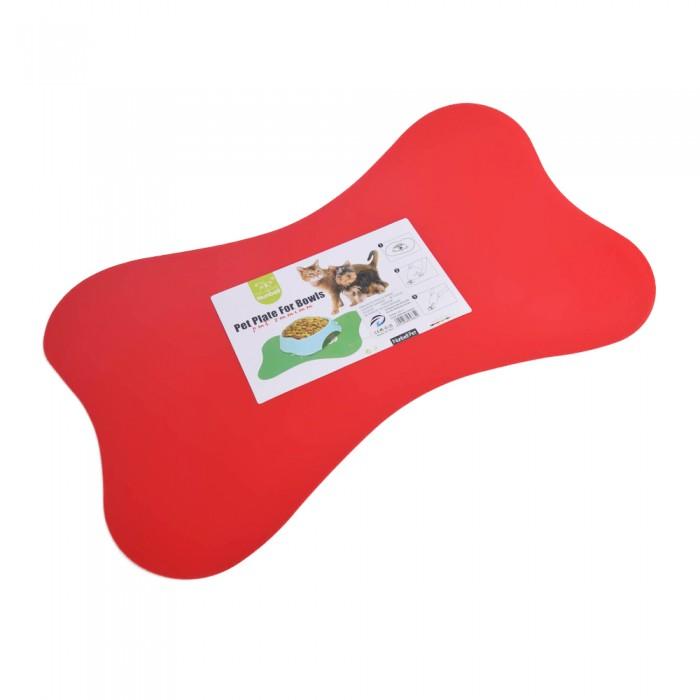 czerwona podkładka mata pod miski dla psa antypoślizgowa KOŚĆ