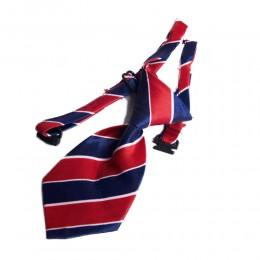 Regulowany krawat dla psa kota królika CZERWONO GRANATOWE PASKI