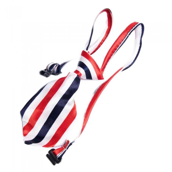 Regulowany krawat dla psa kota królika yorka W PASECZKI CZERWONO GRANATOWE