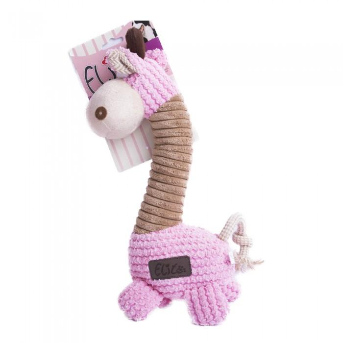 Duża pluszowa piszcząca zabawka dla psa ŻYRAFA różowa
