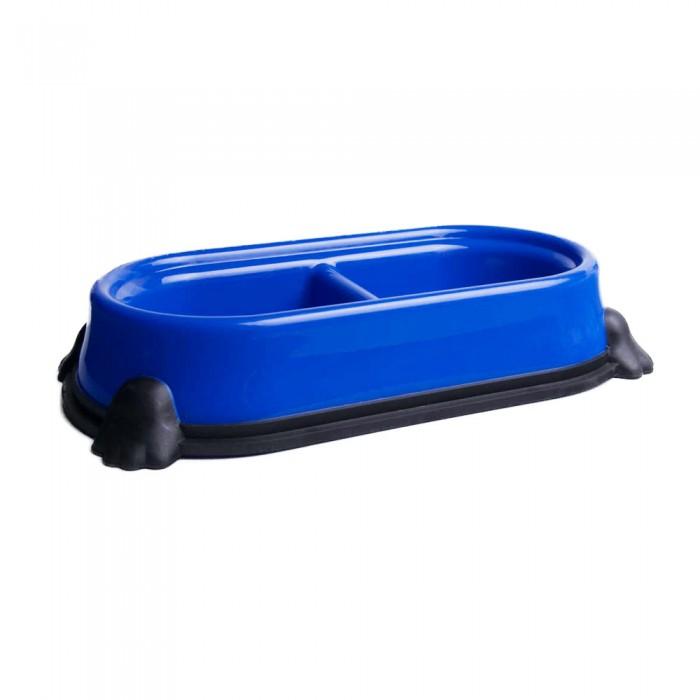 niebieska podwójna miska plastikowa dla psa kota ŁAPA 400ml antypoślizgowa