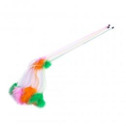 Kolorowa wędka z piórkami na sprężynce zabawka dla kota cm