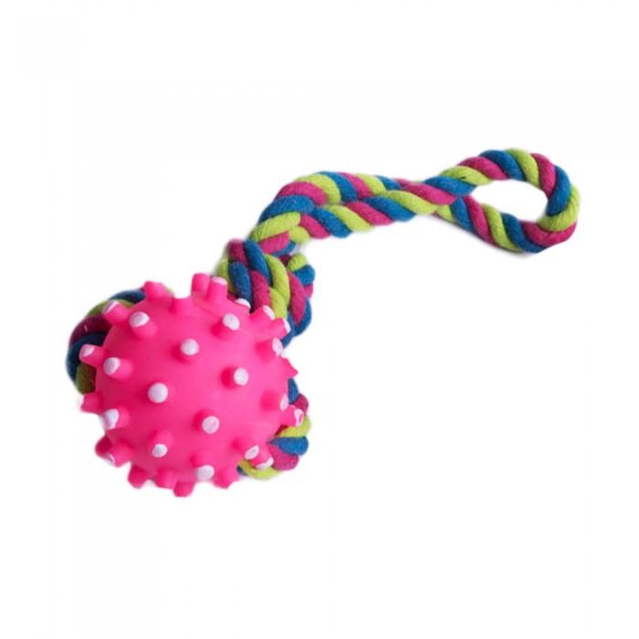 różowa zabawka dla psa piłka na sznurku do aportowania