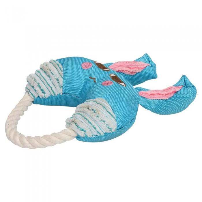 Piszczący zajączek ze sznurkiem dla psa