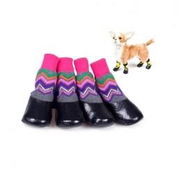 Ciepłe buty dla psa na zime z gumową podeszwą RÓŻOWO SZARE