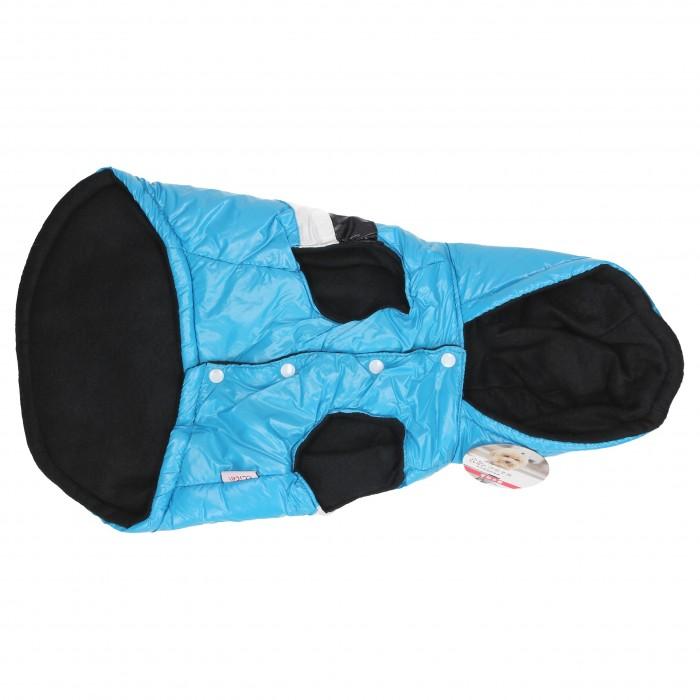 niebieska kurtka zimowa dla psa z kapturem