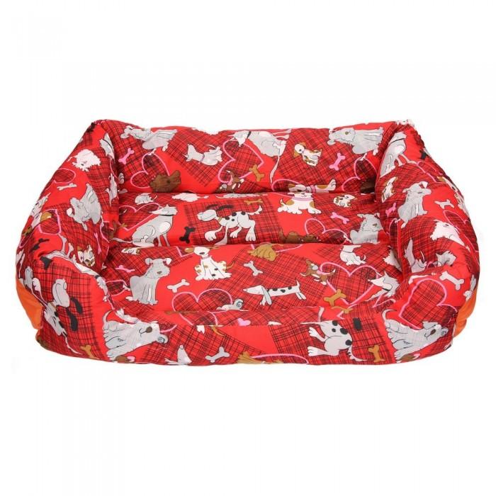Czerwona kanapa legowisko dla psa w pieski M