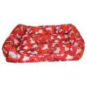 Czerwona kanapa legowisko dla psa w pieski L